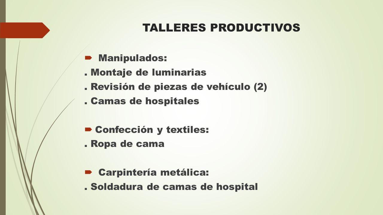TALLERES PRODUCTIVOS  Manipulados:. Montaje de luminarias. Revisión de piezas de vehículo (2). Camas de hospitales  Confección y textiles:. Ropa de