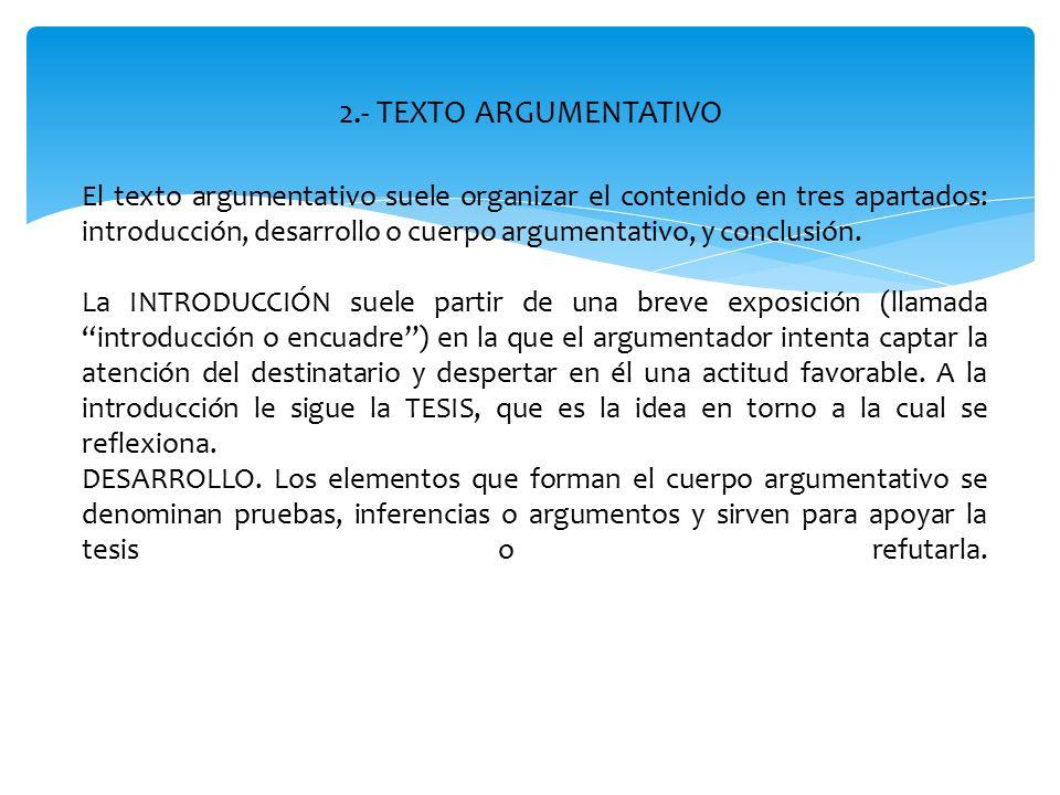 2.- TEXTO ARGUMENTATIVO El texto argumentativo suele organizar el contenido en tres apartados: introducción, desarrollo o cuerpo argumentativo, y conclusión.