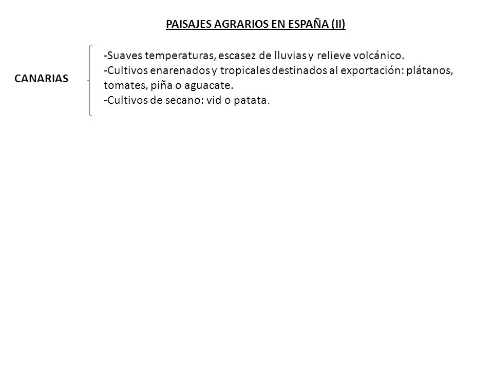 PAISAJES AGRARIOS EN ESPAÑA (II) CANARIAS -Suaves temperaturas, escasez de lluvias y relieve volcánico.