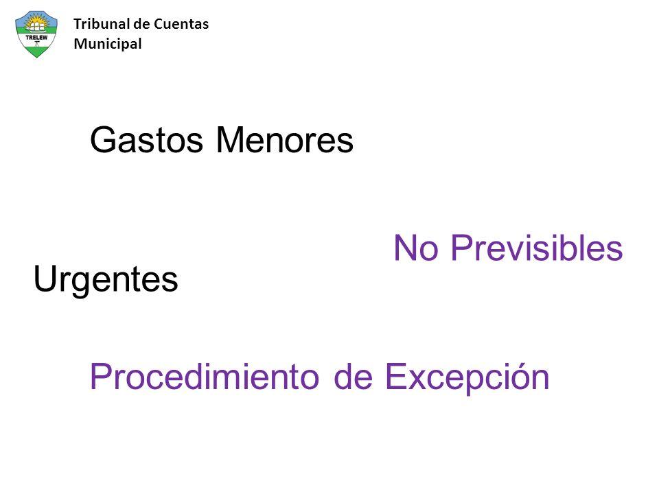 Gastos Menores Procedimiento de Excepción Urgentes No Previsibles Tribunal de Cuentas Municipal