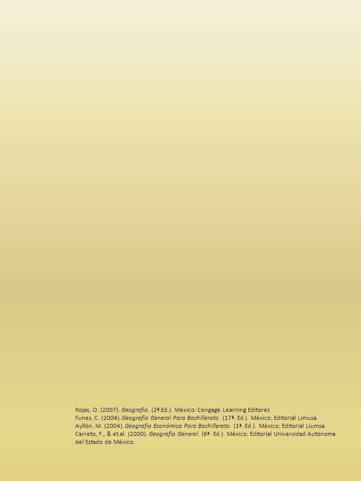 Rojas, O. (2007). Geografía. (2ª.Ed.). México: Cengage Learning Editores Funes, C.