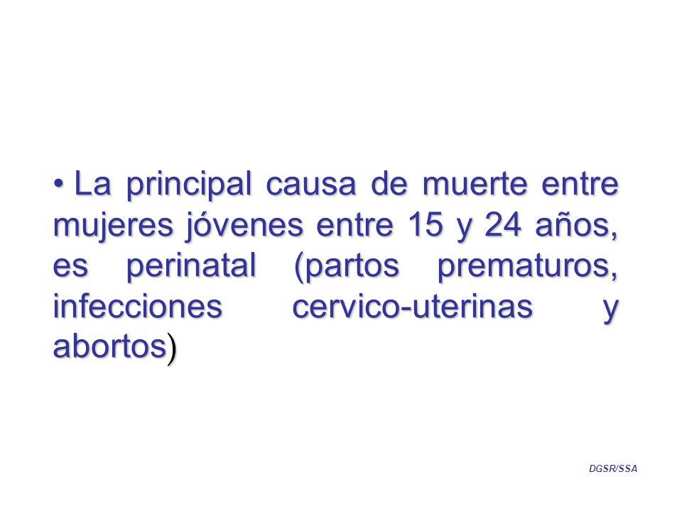 La principal causa de muerte entre mujeres jóvenes entre 15 y 24 años, es perinatal (partos prematuros, infecciones cervico-uterinas y abortos ) La principal causa de muerte entre mujeres jóvenes entre 15 y 24 años, es perinatal (partos prematuros, infecciones cervico-uterinas y abortos ) DGSR/SSA