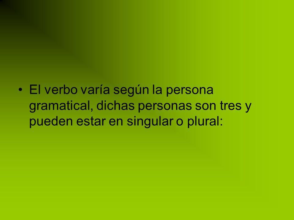 El verbo varía según la persona gramatical, dichas personas son tres y pueden estar en singular o plural: