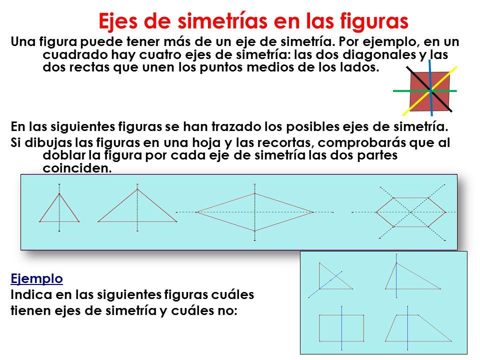 Ejes de simetrías en las figuras Una figura puede tener más de un eje de simetría.