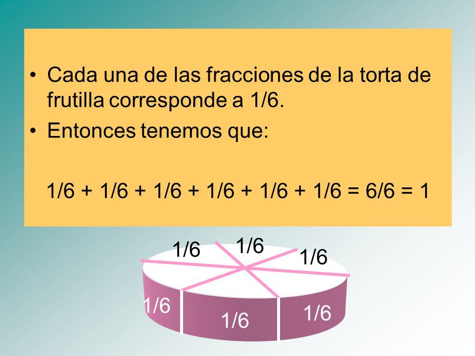 1/6 Cada una de las fracciones de la torta de frutilla corresponde a 1/6. Entonces tenemos que: 1/6 + 1/6 + 1/6 + 1/6 + 1/6 + 1/6 = 6/6 = 1