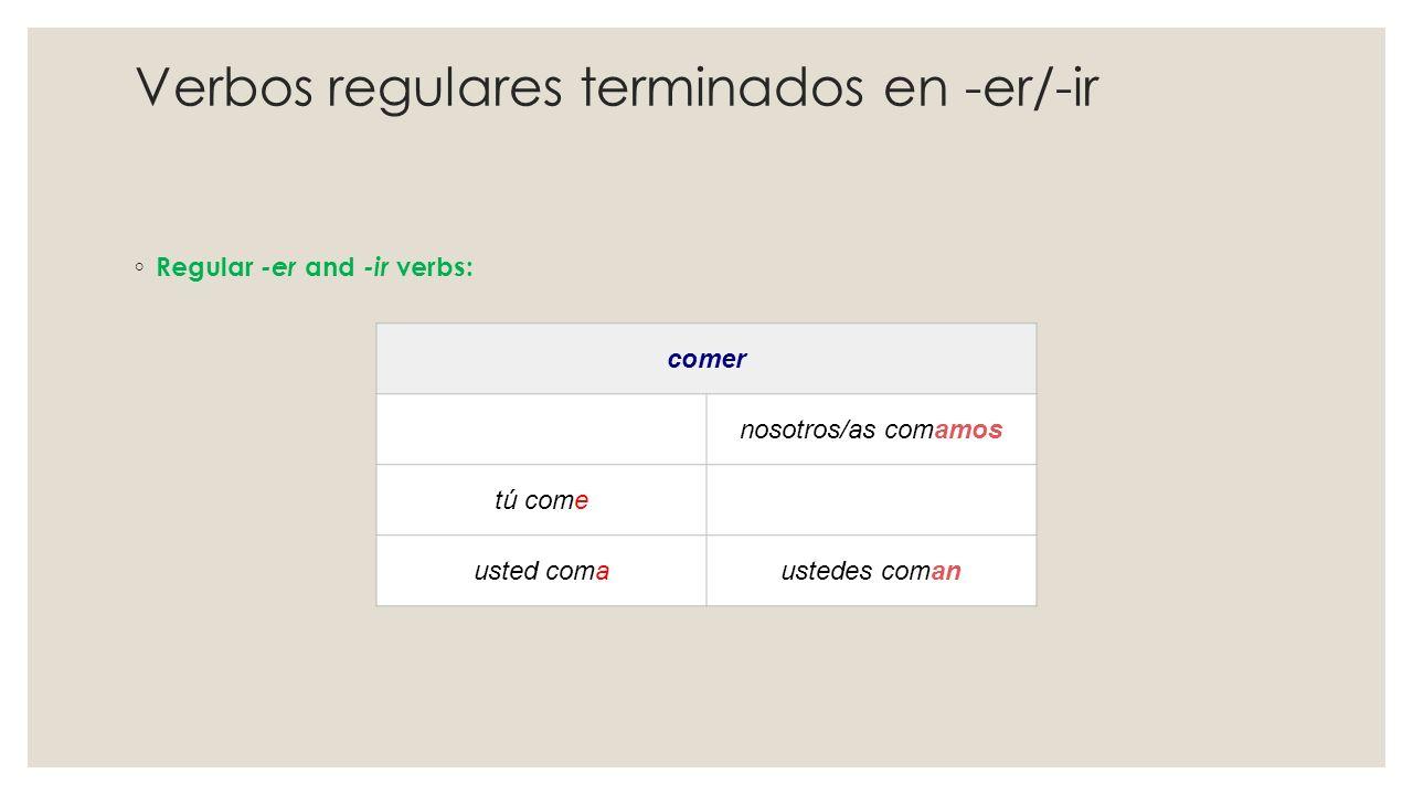 Verbos regulares terminados en -er/-ir ◦ Regular -er and -ir verbs: comer nosotros/as comamos tú come usted comaustedes coman
