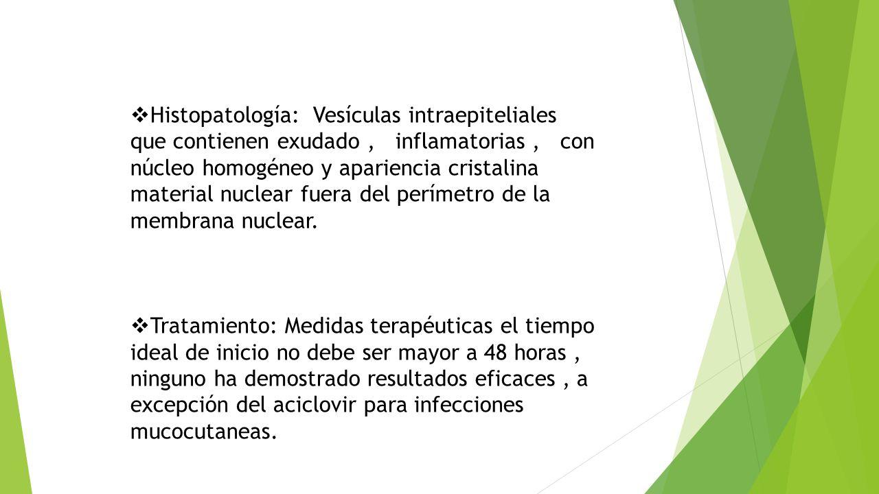  Histopatología: Vesículas intraepiteliales que contienen exudado, inflamatorias, con núcleo homogéneo y apariencia cristalina material nuclear fuera