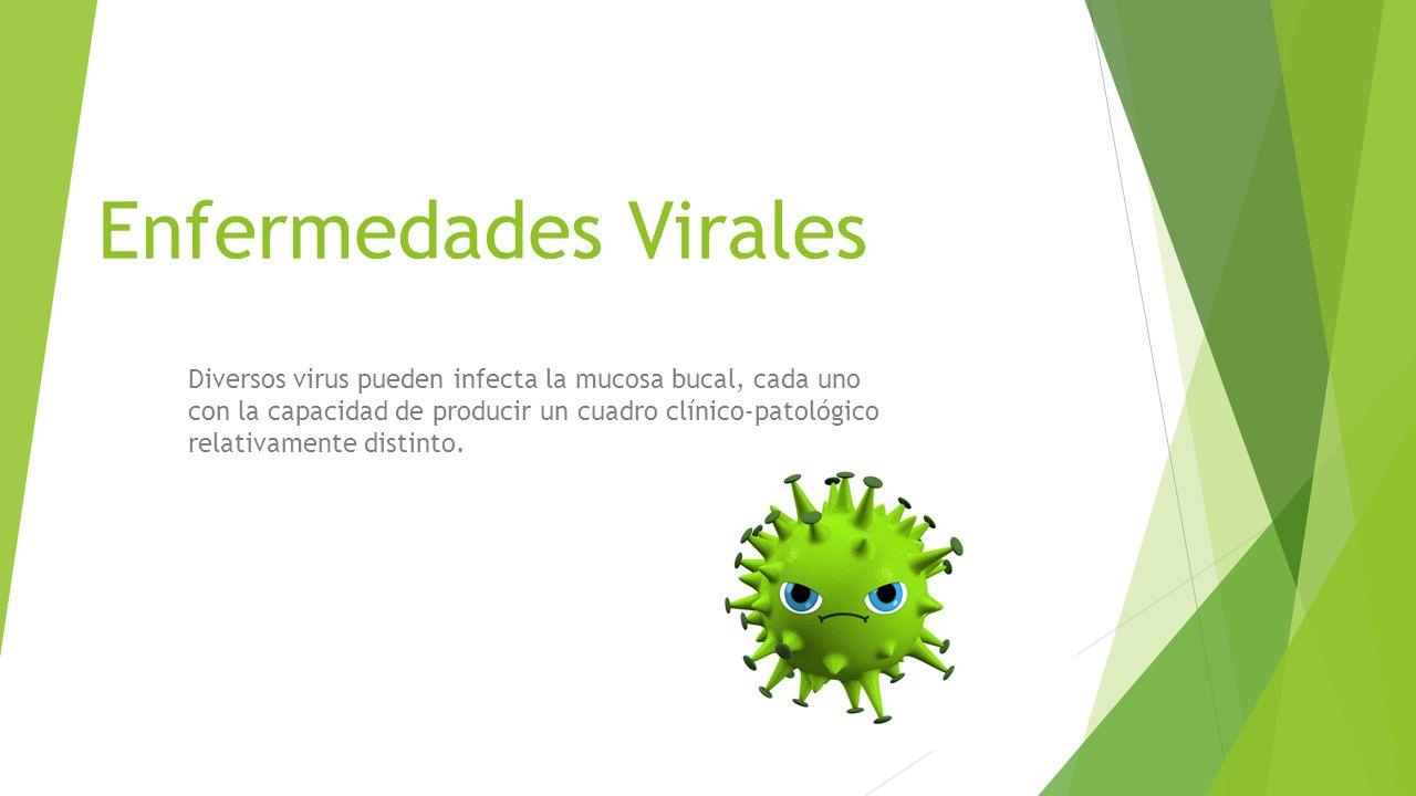 Enfermedades Virales Diversos virus pueden infecta la mucosa bucal, cada uno con la capacidad de producir un cuadro clínico-patológico relativamente d
