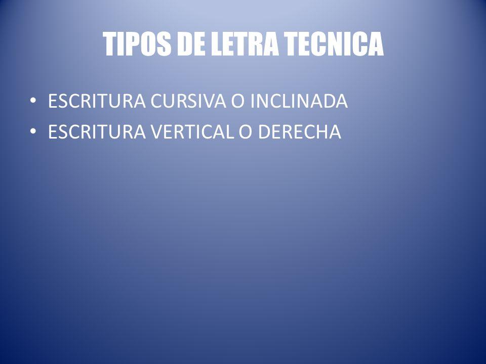 TIPOS DE LETRA TECNICA ESCRITURA CURSIVA O INCLINADA ESCRITURA VERTICAL O DERECHA