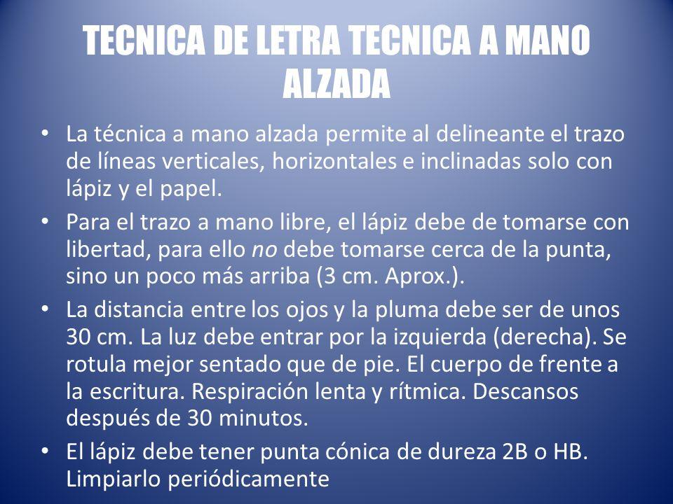 TECNICA DE LETRA TECNICA A MANO ALZADA La técnica a mano alzada permite al delineante el trazo de líneas verticales, horizontales e inclinadas solo con lápiz y el papel.