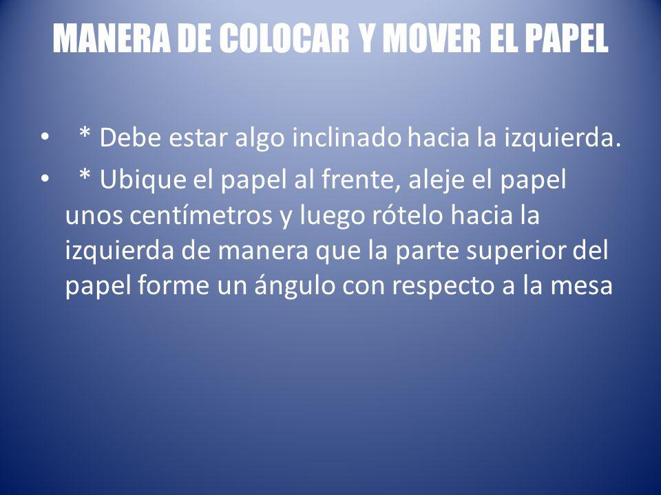 MANERA DE COLOCAR Y MOVER EL PAPEL * Debe estar algo inclinado hacia la izquierda. * Ubique el papel al frente, aleje el papel unos centímetros y lueg