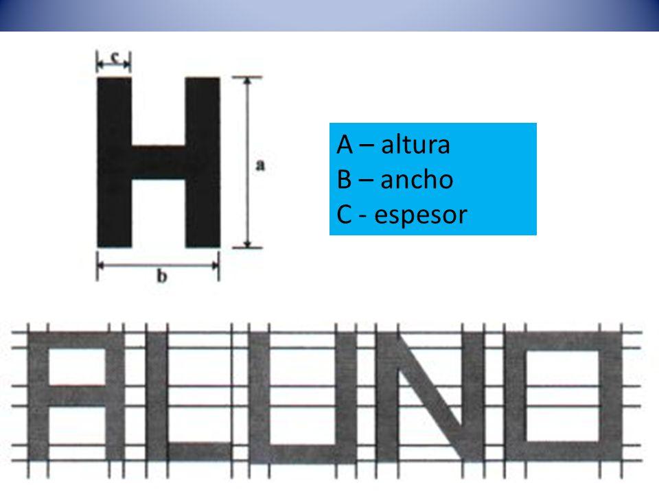 A – altura B – ancho C - espesor