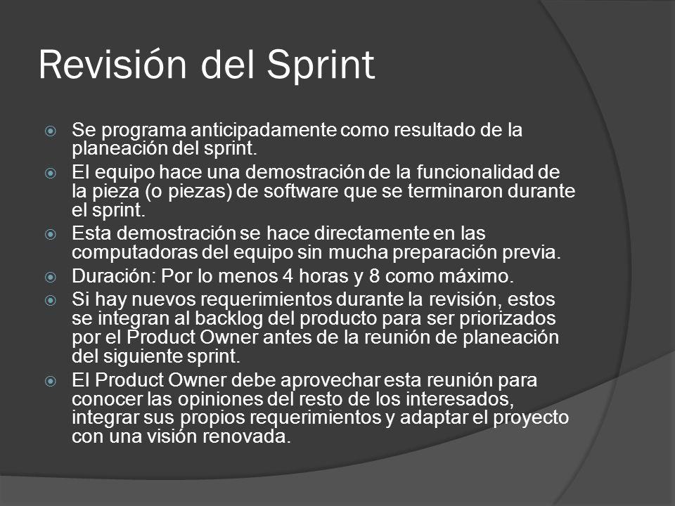 Revisión del Sprint  Se programa anticipadamente como resultado de la planeación del sprint.