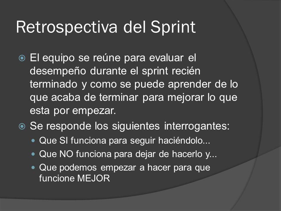 Retrospectiva del Sprint  El equipo se reúne para evaluar el desempeño durante el sprint recién terminado y como se puede aprender de lo que acaba de terminar para mejorar lo que esta por empezar.