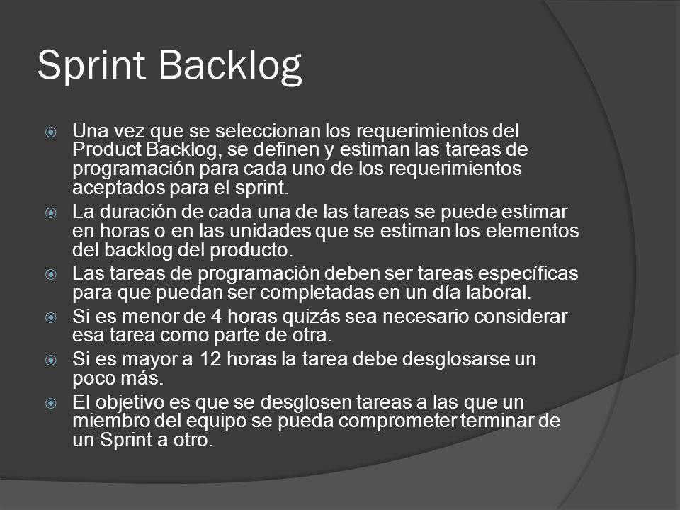 Sprint Backlog  Una vez que se seleccionan los requerimientos del Product Backlog, se definen y estiman las tareas de programación para cada uno de los requerimientos aceptados para el sprint.