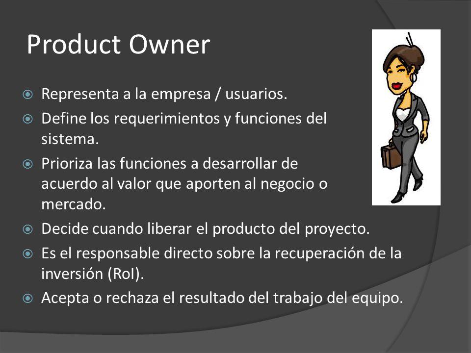 Product Owner  Representa a la empresa / usuarios.