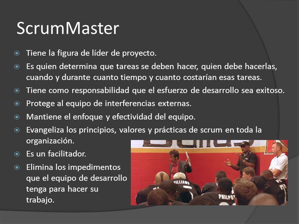 ScrumMaster  Tiene la figura de líder de proyecto.