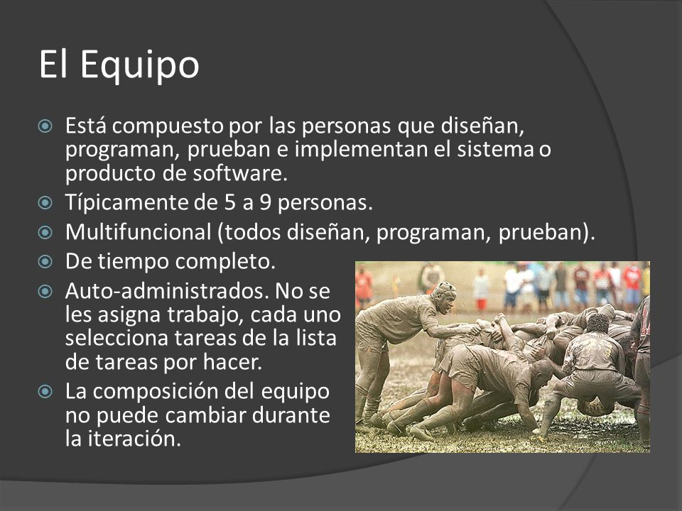 El Equipo  Está compuesto por las personas que diseñan, programan, prueban e implementan el sistema o producto de software.