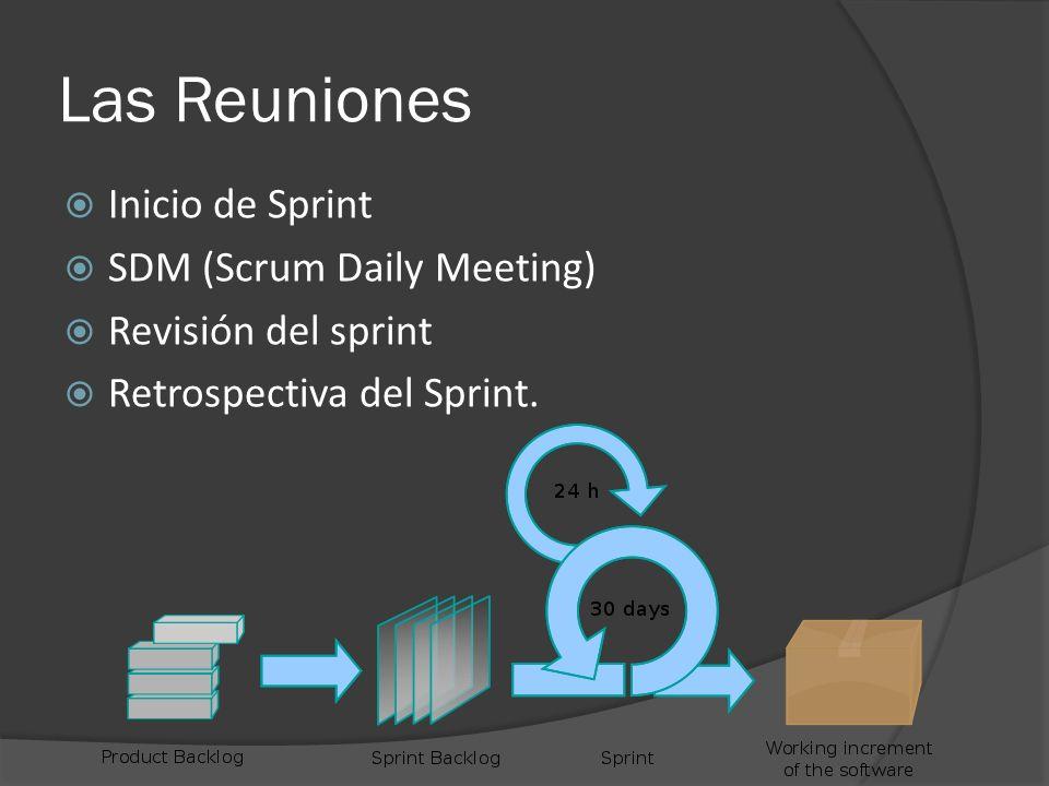 Las Reuniones  Inicio de Sprint  SDM (Scrum Daily Meeting)  Revisión del sprint  Retrospectiva del Sprint.