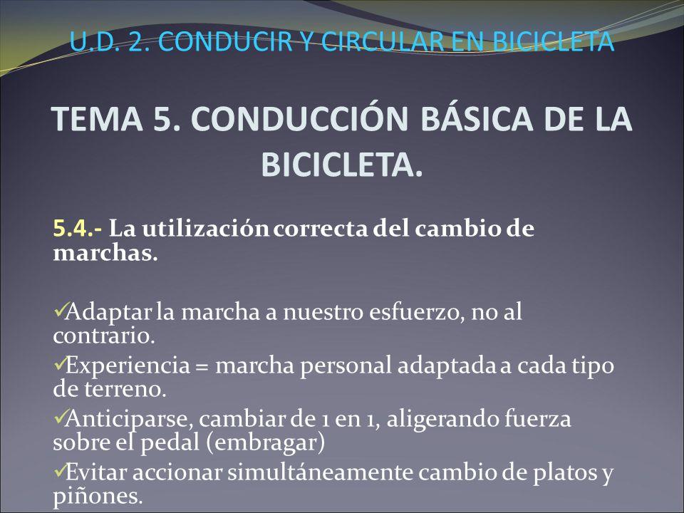 U.D. 2. CONDUCIR Y CIRCULAR EN BICICLETA TEMA 5. CONDUCCIÓN BÁSICA DE LA BICICLETA. 5.4.- La utilización correcta del cambio de marchas. Adaptar la ma
