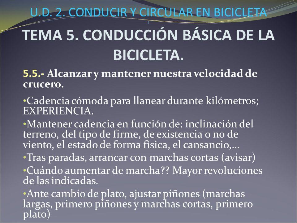 U.D. 2. CONDUCIR Y CIRCULAR EN BICICLETA i TEMA 5. CONDUCCIÓN BÁSICA DE LA BICICLETA. 5.5.- Alcanzar y mantener nuestra velocidad de crucero. Cadencia