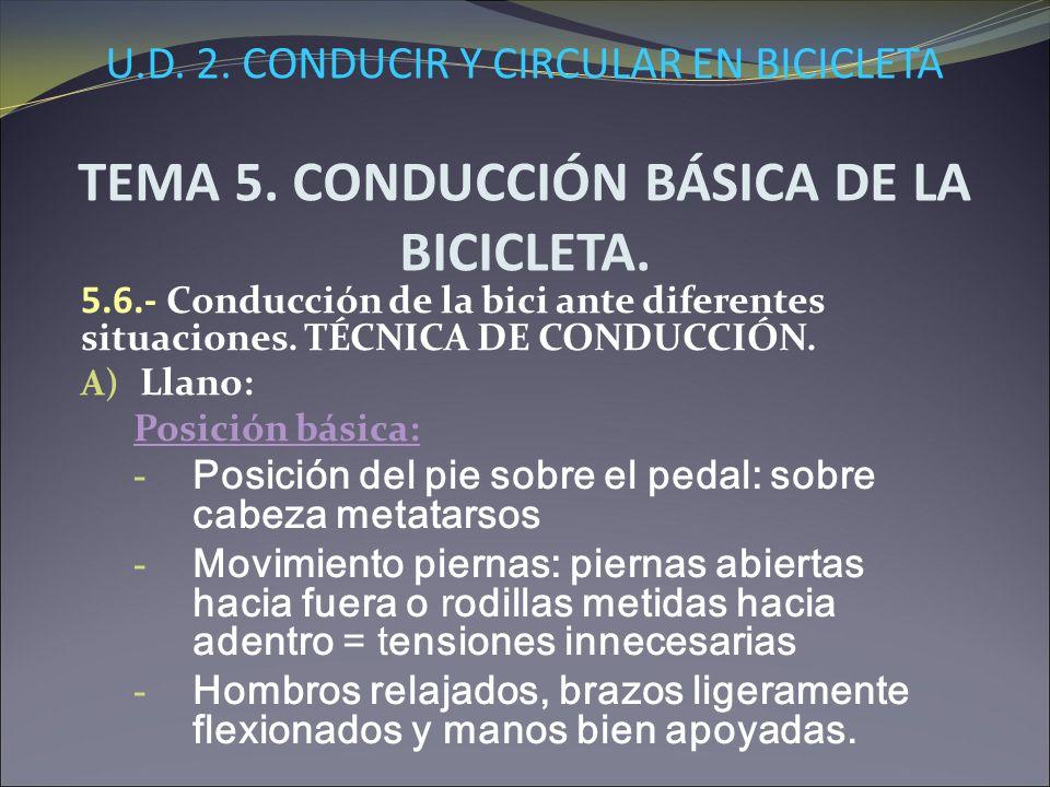 U.D. 2. CONDUCIR Y CIRCULAR EN BICICLETA TEMA 5. CONDUCCIÓN BÁSICA DE LA BICICLETA. 5.6.- Conducción de la bici ante diferentes situaciones. TÉCNICA D