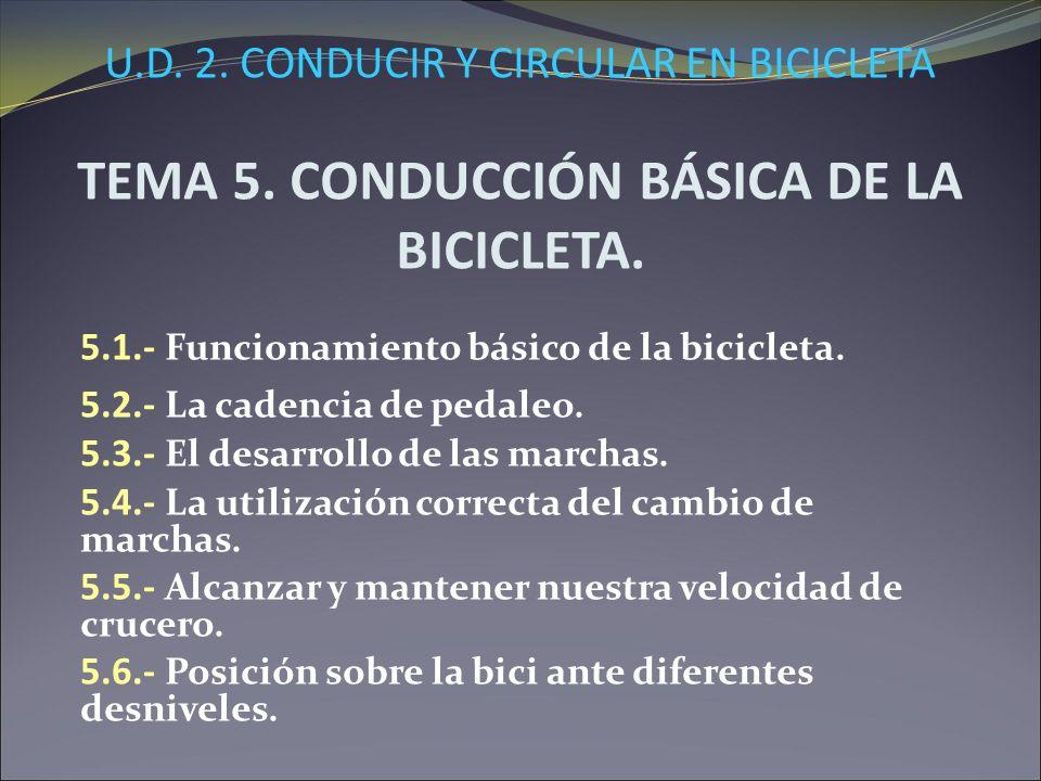 U.D. 2. CONDUCIR Y CIRCULAR EN BICICLETA TEMA 5. CONDUCCIÓN BÁSICA DE LA BICICLETA. 5.1.- Funcionamiento básico de la bicicleta. 5.2.- La cadencia de