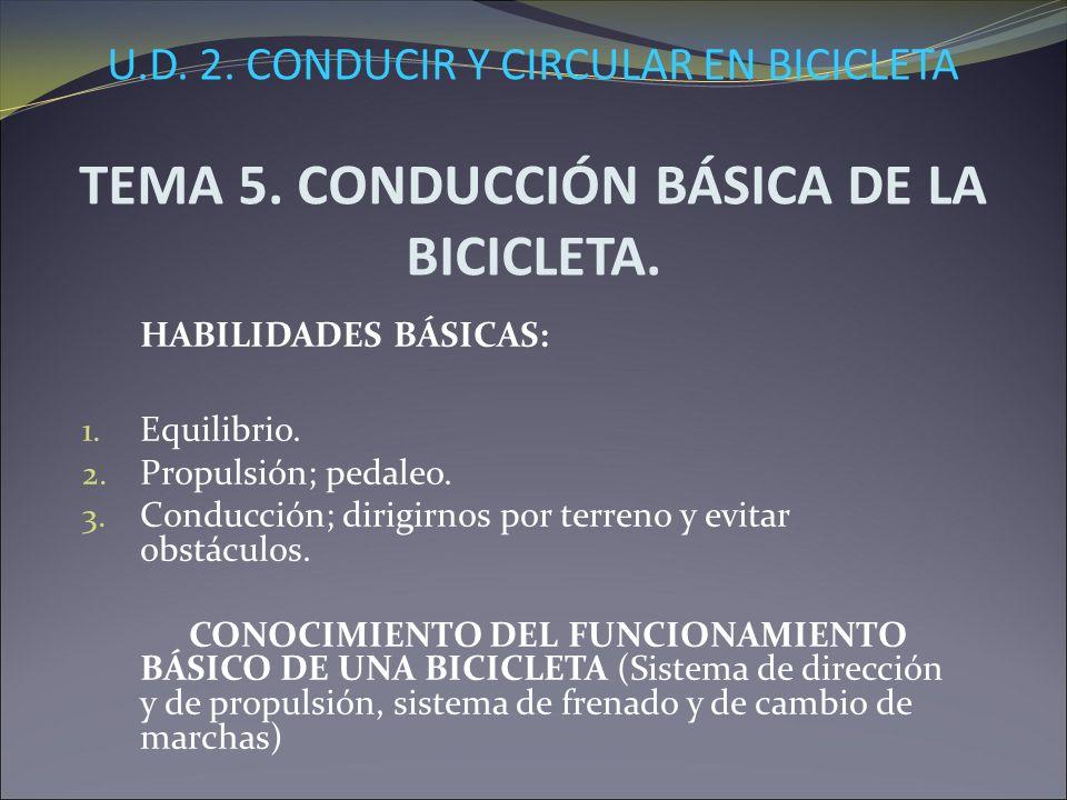 U.D. 2. CONDUCIR Y CIRCULAR EN BICICLETA TEMA 5. CONDUCCIÓN BÁSICA DE LA BICICLETA. HABILIDADES BÁSICAS: 1. Equilibrio. 2. Propulsión; pedaleo. 3. Con