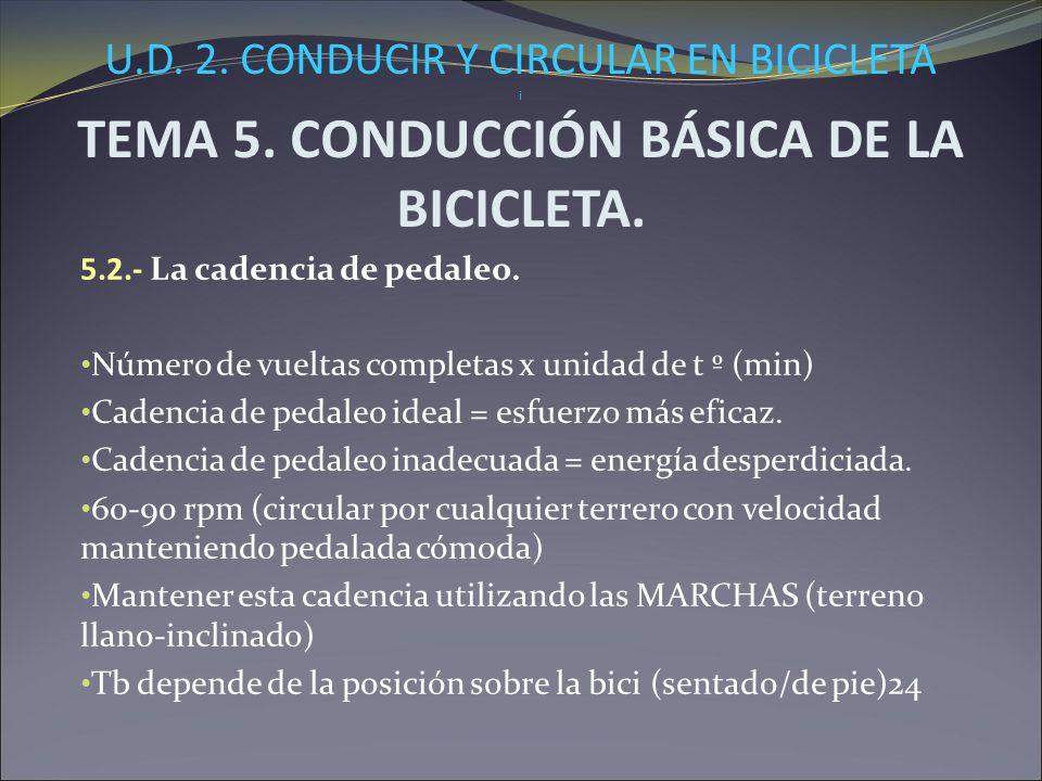 U.D. 2. CONDUCIR Y CIRCULAR EN BICICLETA i TEMA 5. CONDUCCIÓN BÁSICA DE LA BICICLETA. 5.2.- La cadencia de pedaleo. Número de vueltas completas x unid