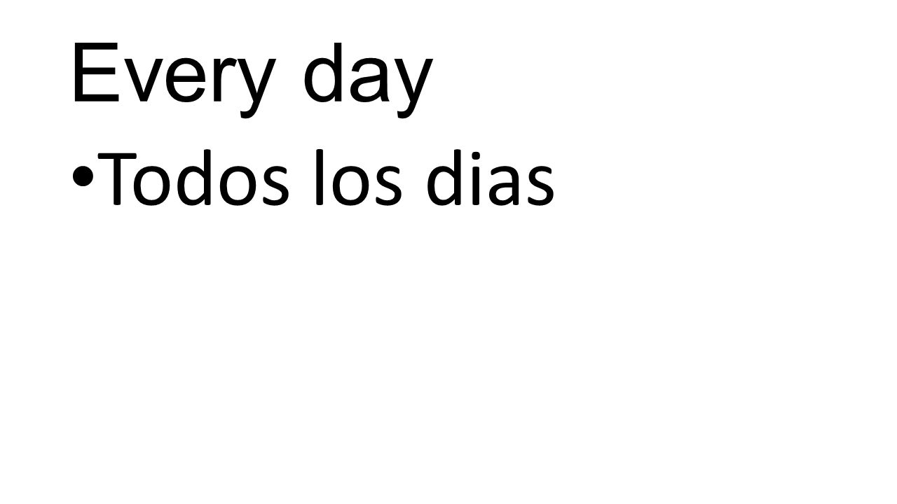 Every day Todos los dias