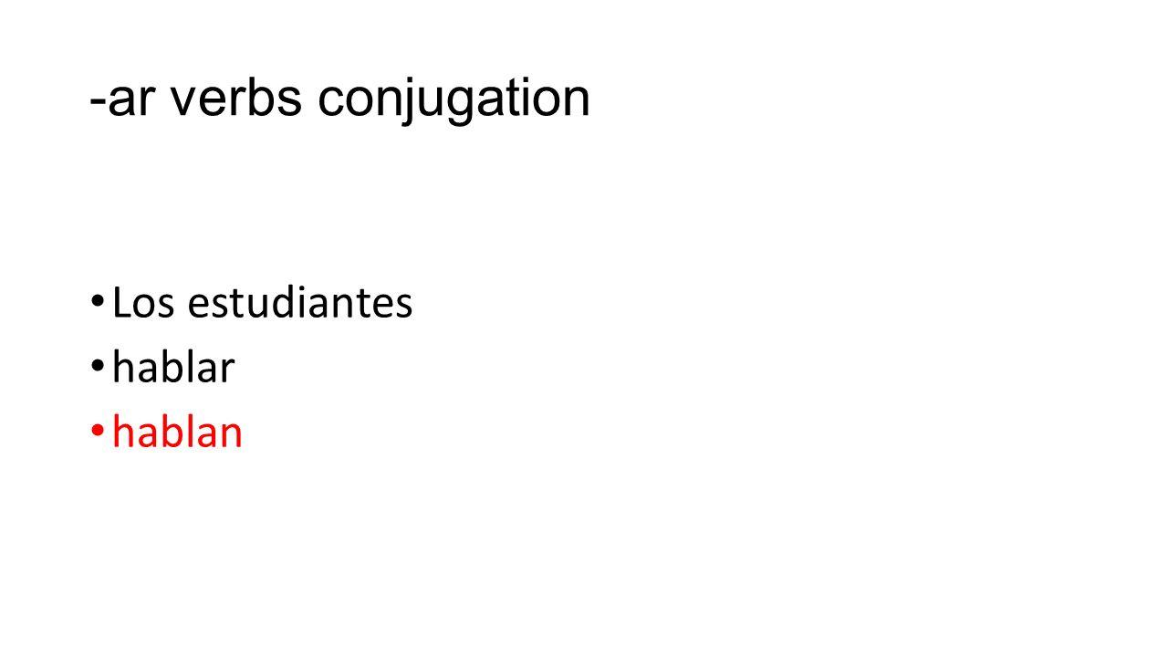 -ar verbs conjugation Los estudiantes hablar hablan