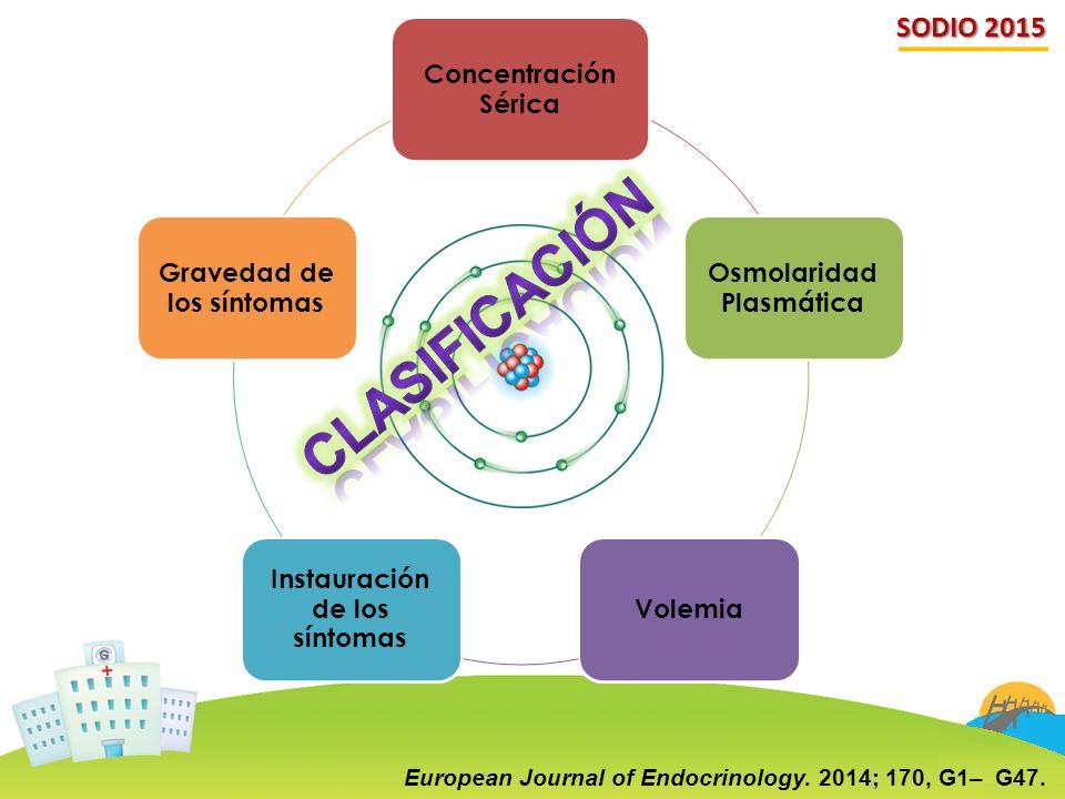 SODIO 2015 Concentración Sérica Osmolaridad Plasmática Volemia Instauración de los síntomas Gravedad de los síntomas European Journal of Endocrinology