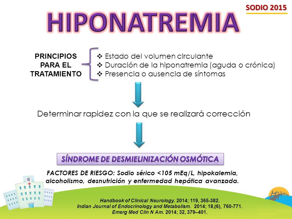 SODIO 2015  Estado del volumen circulante  Duración de la hiponatremia (aguda o crónica)  Presencia o ausencia de síntomas PRINCIPIOS PARA EL TRATA