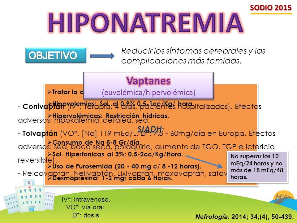 SODIO 2015 Reducir los síntomas cerebrales y las complicaciones más temidas.  Tratar la causa de la hiponatremia.  Hipovolemias: Sol. al 0.9% 0.5-1c