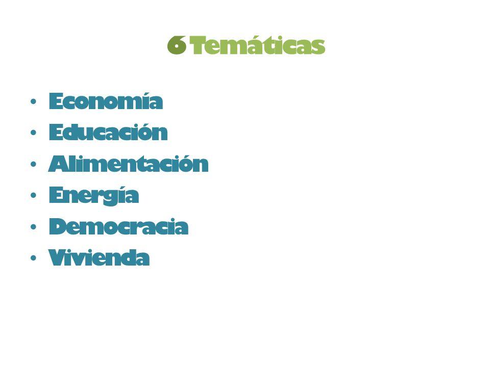 6 Temáticas Economía Educación Alimentación Energía Democracia Vivienda