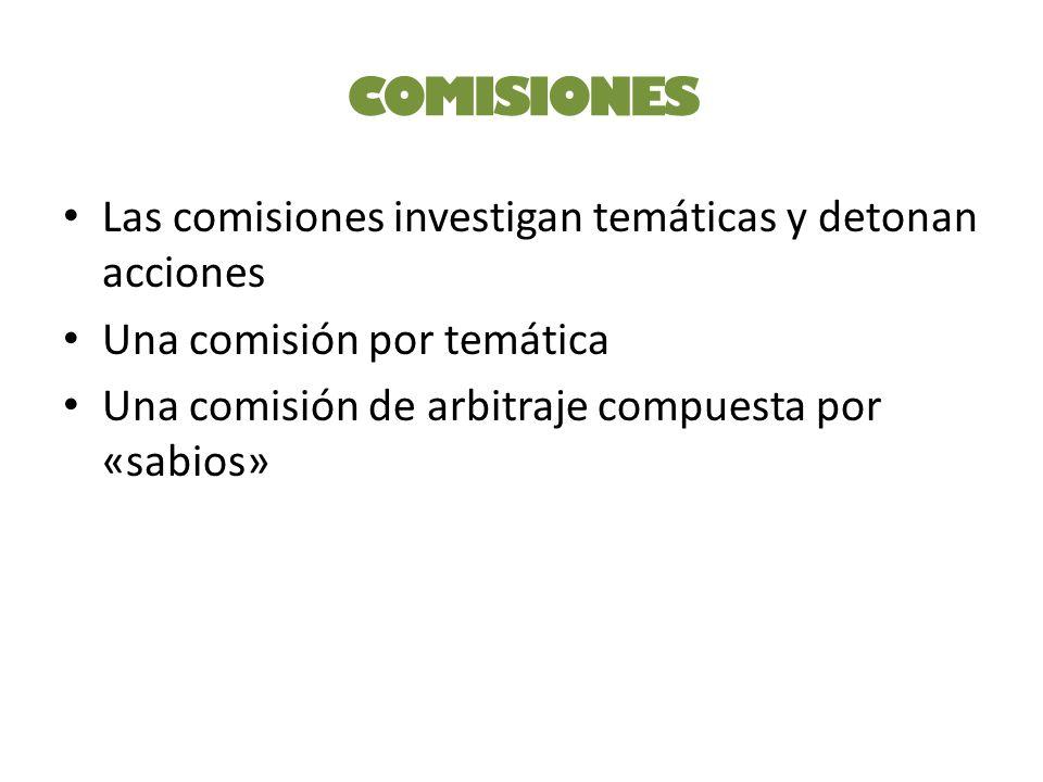 COMISIONES Las comisiones investigan temáticas y detonan acciones Una comisión por temática Una comisión de arbitraje compuesta por «sabios»