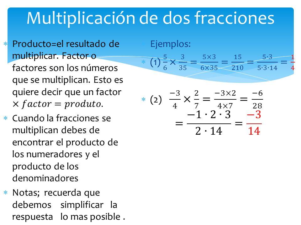 Multiplicación de dos fracciones