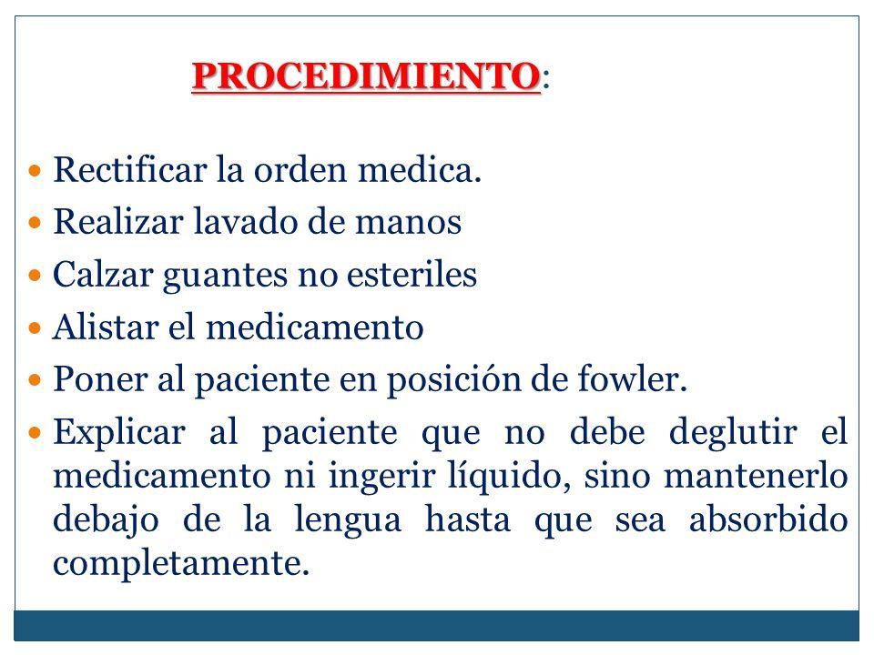 PROCEDIMIENTO PROCEDIMIENTO: Rectificar la orden medica.