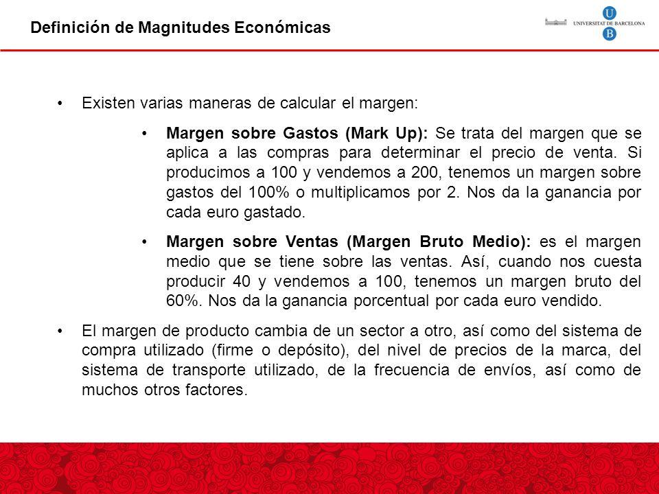 Definición de Magnitudes Económicas Canon de entrada Existen varias maneras de calcular el margen: Margen sobre Gastos (Mark Up): Se trata del margen que se aplica a las compras para determinar el precio de venta.