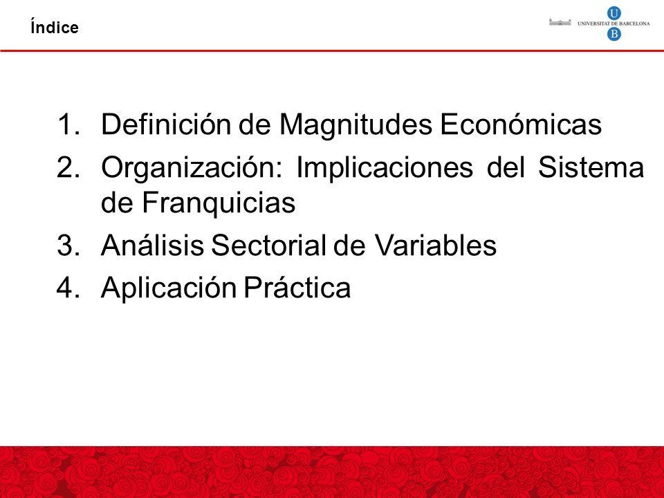 Índice 1.Definición de Magnitudes Económicas 2.Organización: Implicaciones del Sistema de Franquicias 3.Análisis Sectorial de Variables 4.Aplicación Práctica
