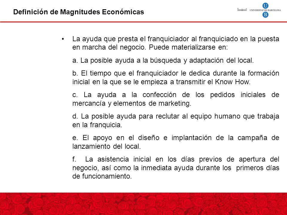 Definición de Magnitudes Económicas La ayuda que presta el franquiciador al franquiciado en la puesta en marcha del negocio.