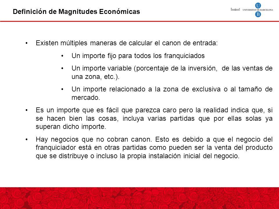 Definición de Magnitudes Económicas Existen múltiples maneras de calcular el canon de entrada: Un importe fijo para todos los franquiciados Un importe variable (porcentaje de la inversión, de las ventas de una zona, etc.).