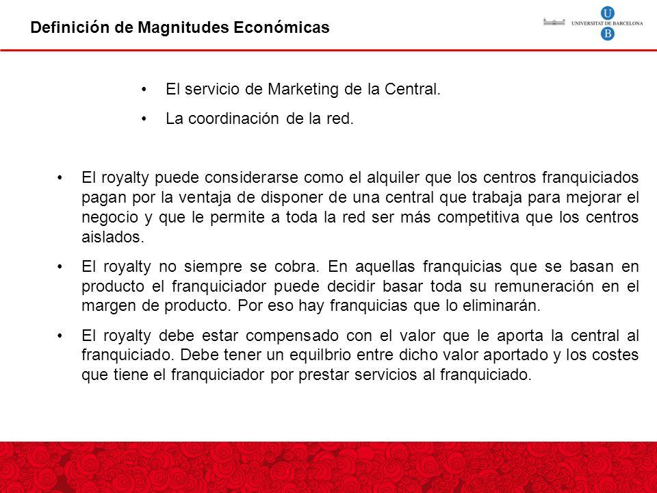 Definición de Magnitudes Económicas El servicio de Marketing de la Central.
