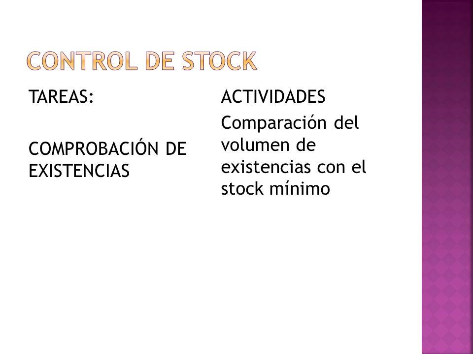 TAREAS: COMPROBACIÓN DE EXISTENCIAS ACTIVIDADES Comparación del volumen de existencias con el stock mínimo