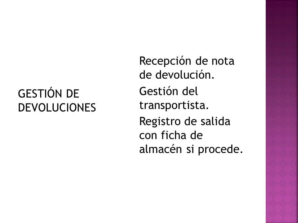 GESTIÓN DE DEVOLUCIONES Recepción de nota de devolución. Gestión del transportista. Registro de salida con ficha de almacén si procede.