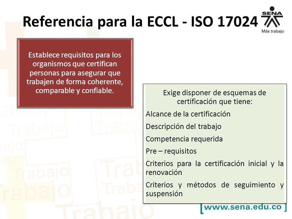 Referencia para la ECCL - ISO 17024 Establece requisitos para los organismos que certifican personas para asegurar que trabajen de forma coherente, comparable y confiable.