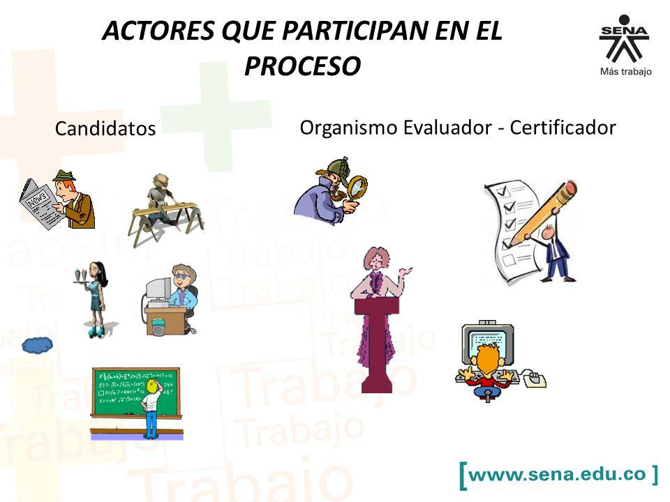 ACTORES QUE PARTICIPAN EN EL PROCESO Candidatos Organismo Evaluador - Certificador