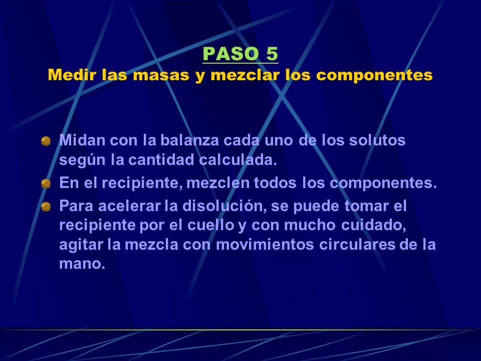 PASO 5 Medir las masas y mezclar los componentes Midan con la balanza cada uno de los solutos según la cantidad calculada.