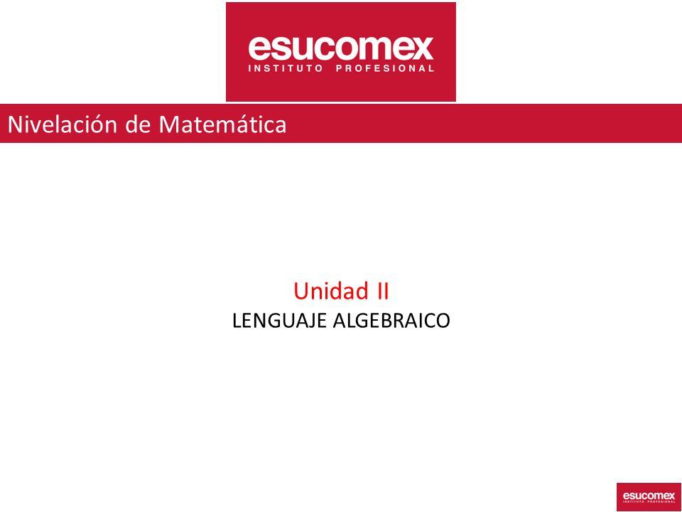 Unidad II LENGUAJE ALGEBRAICO Nivelación de Matemática