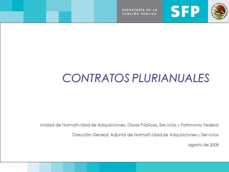 CONTRATOS PLURIANUALES Unidad de Normatividad de Adquisiciones, Obras Públicas, Servicios y Patrimonio Federal Dirección General Adjunta de Normativid